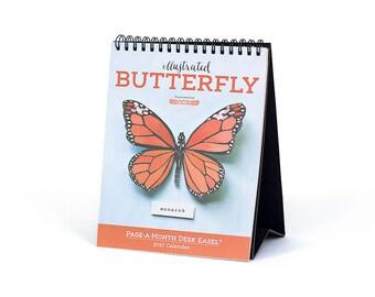 SALE 2017 Butterfly Desk Easel Calendar
