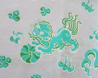 Lion Dance - Hand Printed fabric - Half Yard