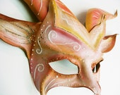 Beautiful Pink Fantasy Colors and Glitter Horned Animal Creature Leather Mask goat gazelle festival Halloween art