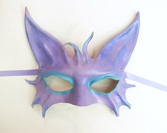 Cat Animal Leather Mask in Periwinkle with Teal colorful pretty pastels purple blue lavender costume