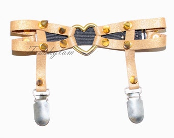 Gold GLITTER spiked leather thigh garter harness suspenders lingerie burlesque festival fashion Steampunk cosplay