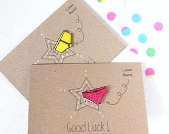 Handmade Good Luck Card. Luck Card. Good Luck. Good Luck Card. Lucky Pants. Y-fronts card. Lucky pants card. Recycled Card. Luck. Luck Card.