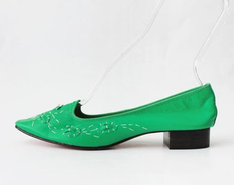 1960s Embroidered Green Leather Flats