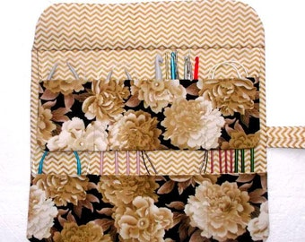 Brown Gold Circular Knitting Needle Roll, Floral Crochet Hook Holder, Double Pointed Needle Case, Artist and Makeup Brushes Storage