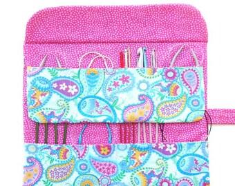 Circular Needle Roll Up, Blue Pink Paisley Crochet Hook Storage Organizer, Pencil Case, Artist or Makeup Brushes Holder, DPN Roll