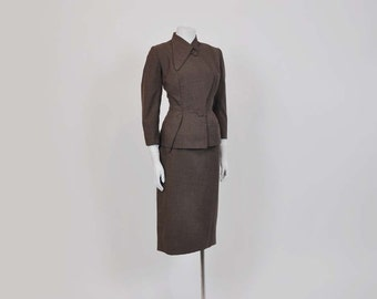 vintage don loper / Vintage 50's Asymmetrical Don Loper Suit Jacket Skirt
