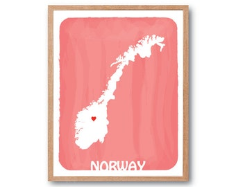 NORWAY Map Personalized Custom Color Watercolor Style Love Map Wedding Birthday Anniversary GIft Children Kids poster