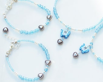 2 x Girls BRIDESMAID Sets Blue Butterfly Necklace and Bracelet