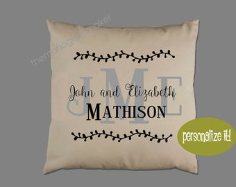 Monogrammed Personalized Wedding Gift Pillow Cover Pillow Case