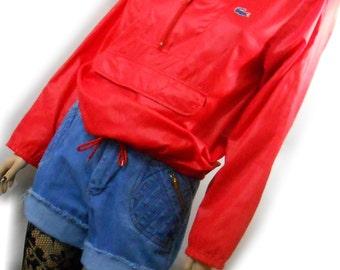 Vtg 80s 70 Red Lacoste Hooded Pocket Kangaroo Pocket Tennis Golf  Lightweight Paper Thin Athletic Sporty Retro Top Shirt Track Jacket Coat