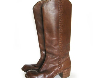RESERVED - FRYE Womens Vintage Leather Campus Boots with Braid Stacked Heel Vintage Tall Made In USA / Tall Brown Festival Boot / Size 9