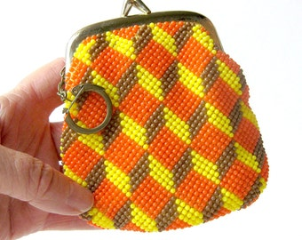 Vintage Beaded Change Purse with Keychain Attached / Chevron Pattern in Orange and Yellow
