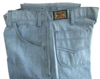 "1970s Men's Vintage Levi Jeans Brush Denim Levi's with ""Semper Volantis"" Black Label / Unworn"