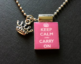 Keep Calm and Carry On Pendant, Keep Calm and Carry On jewelry, gift idea, handmade jewelry, inspirational jewelry, scrabble tile necklace