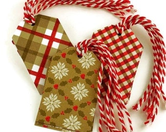 Funky Tags  Large Paper Gift Tags in Holiday Mix Set of 12  (15B)