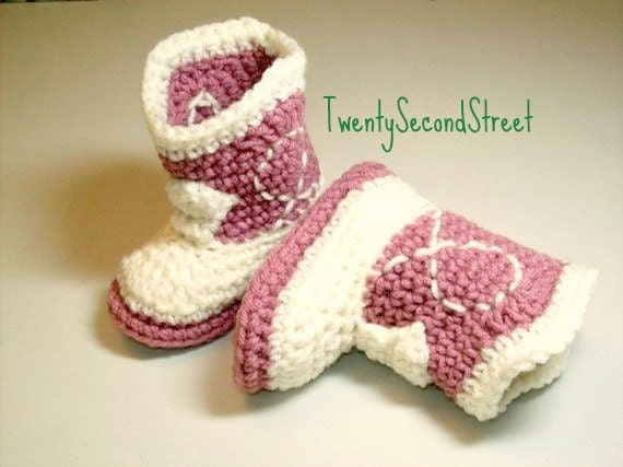 Baby Booties  Light Rose & Natural Cowgirl Boots Crochet Western Boots