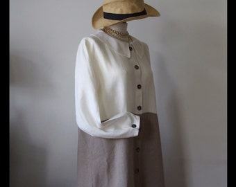 Linen dress with long sleeves, cream and beige linen dress, long linen coat, buttoned up linen dress, color block coat, A-line long dress