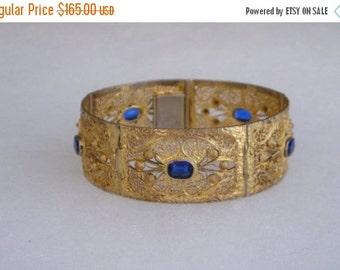 SALE Beautiful Art Deco Ornate Gold Gilt Fligree & Blue Sapphire Paste Bracelet