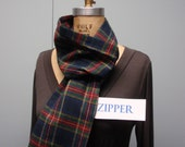 Secret Agent Scarf Infinity Design with Zipper Pocket Paid Flannel Dark Blue Red Green