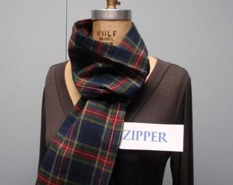 Secret Agent Scarf Infinity Design with Zipper Pocket Paid Flannel Dark Blue Red Green