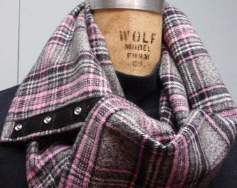 Flannel Neck Cowl with Snap Closure Plaid Pink, Gray and Black