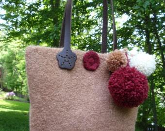 Felted Tote Handmade Purse with Pompoms Leather Handle Beige, Dark Red, Off White