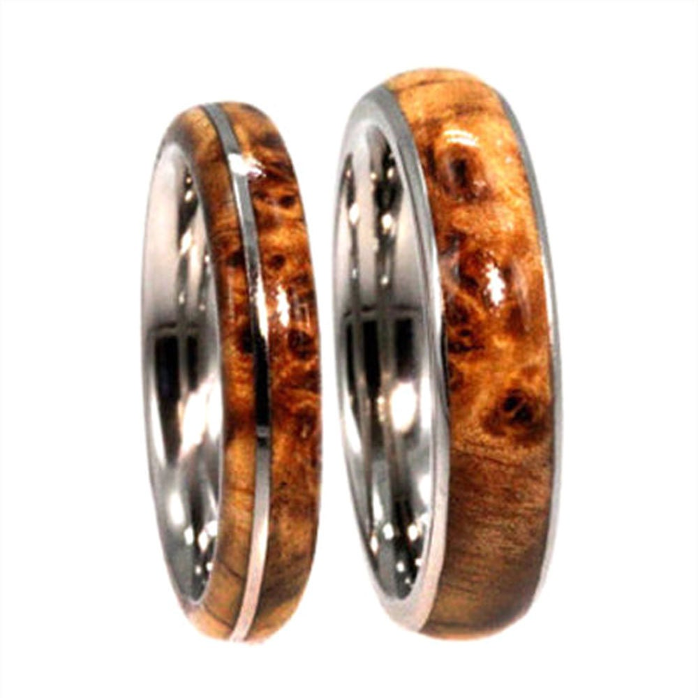 Wooden Wedding Bands Titanium Ring Set With By Jewelrybyjohan