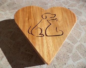 Cat and dog heart jewelry box
