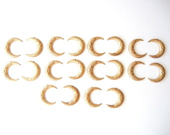 10 Pairs of Brass Rounded Floral Embossed Crescent Moon Charms