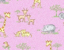 Clearance Sale - Fat Quarter - Pink Jungle Animal Flannel - 475-22