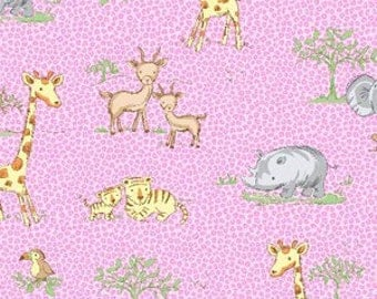 NEW - Fat Quarter - Pink Jungle Animal Flannel - 475-22