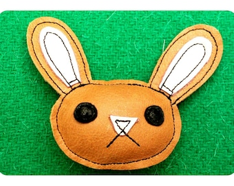 Bunny rabbit tan recycled leather brooch .... WORLDWIDE FREE SHIPPING