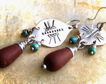 Stylized Tribal Stamped Sterling Silver Earrings with Reddish Brown Jasper & Sea Green Glass Beads . Rustic Style Jewley