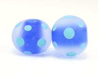 Lampwork Pair, Cobalt and Turquoise,  Polka Dot Beads, Handmade beads, Donna Trull, SRA, Artisan Beads