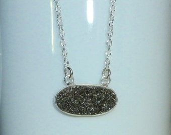 Black Diamond Druzy Necklace, Sterling Silver Druzy Necklace - Drusy Quartz Necklace
