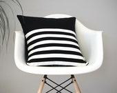 Breton Stripe Patterned Pillow Cover in Black and Cream Linen by JillianReneDecor - Modern Home Decor - Striped Pillow - Black and White