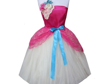SALE Dress Womens Blue and Pink and Cream Tulle Prom Special occasion Gown