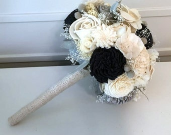 Navy and Gray Wedding Bouquet made with sola flowers - choose colors - custom - bridal bouquet - Alternative bouquet - bridesmaids bouquet
