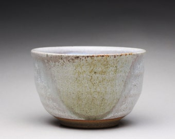 handmade matcha chawan, pottery tea bowl, ceramic bowl with light blue and white wood ash glazes