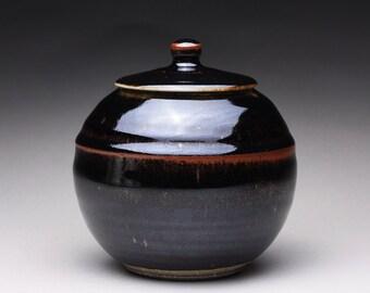 lidded jar, handmade cookie jar, pottery canister with black brown tenmoku and green celadon glazes