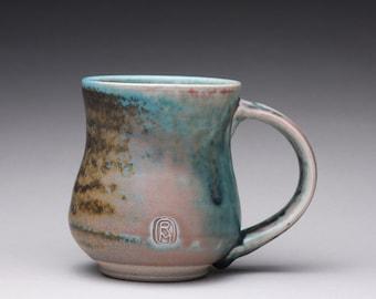handmade porcelain mug, ceramic coffee mug, pottery tea cup with satin green and white glazes