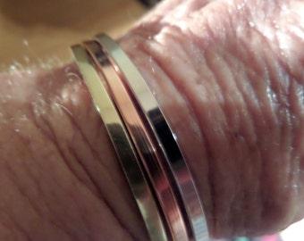 Square Brass, Copper or Silver Cuff