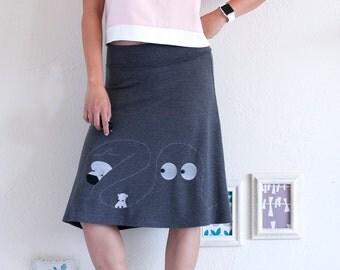 Women A-line Skirt . Octopus Skirt . Jersey Knit Skirt . Knee Length Skirt . Fold Over Stretchy Skirt - I love dog, hippopotamos & octopus!