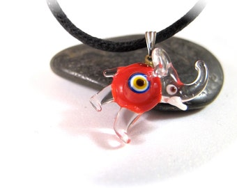 Red Elephant Evil Eye Pendant