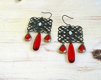 Chandelier Earrings, Cranberry Red, Blood Red, Antique Cooper, Antique Brass,  Dangle and Drop, Dangle Earrings