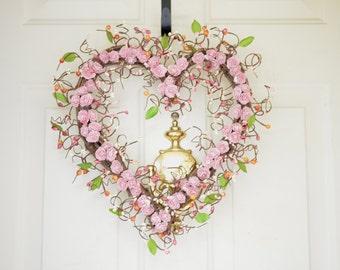 Light Pink Heart Shaped Wreath Pink peonies Spring Summer Heart wreath Wedding wreath Year round decor Valentines Day Front Door wreath