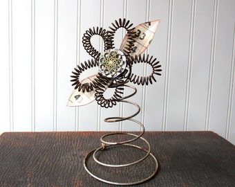 Upcycled rusty bedspring flower metal wire bed spring vintage hardware elements mixed media folk art N2