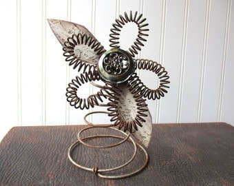 Mixed media flower upcyled wire spring bedspring bed springvintage hardware assemblage folk art N3
