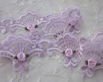 Hand Dyed LAVENDER Fan Lace Trim Embellished w Pearl Satin Rose Bud Flowers Baby Bridal Sewing Ribbon