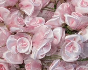 36 pc Pink White Wired Satin Organza Rose Flower Applique Bridal Wedding Bouquet